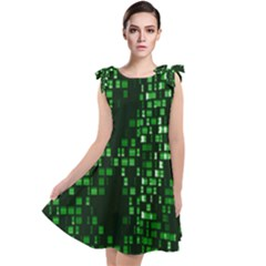 Abstract Plaid Green Tie Up Tunic Dress