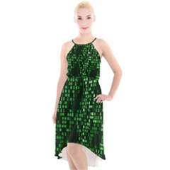 Abstract Plaid Green High Low Halter Chiffon Dress