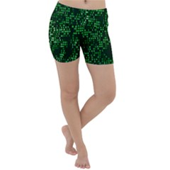 Abstract Plaid Green Lightweight Velour Yoga Shorts