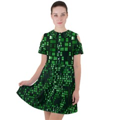 Abstract Plaid Green Short Sleeve Shoulder Cut Out Dress