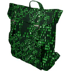 Abstract Plaid Green Buckle Up Backpack