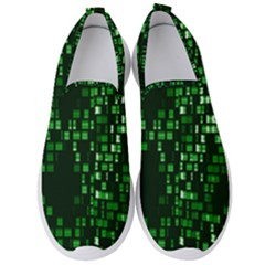Abstract Plaid Green Men s Slip On Sneakers