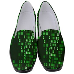 Abstract Plaid Green Women s Classic Loafer Heels