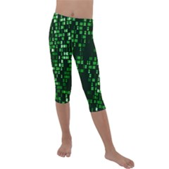 Abstract Plaid Green Kids  Lightweight Velour Capri Leggings