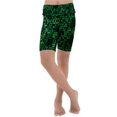 Abstract Plaid Green Kids  Lightweight Velour Cropped Yoga Leggings