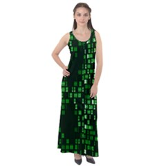 Abstract Plaid Green Sleeveless Velour Maxi Dress