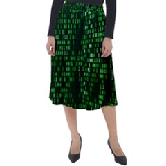Abstract Plaid Green Classic Velour Midi Skirt