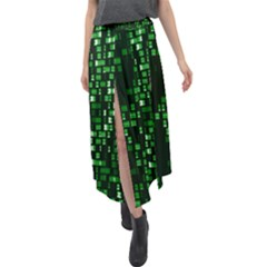 Abstract Plaid Green Velour Split Maxi Skirt