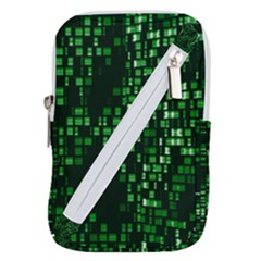 Abstract Plaid Green Belt Pouch Bag (small)