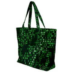 Abstract Plaid Green Zip Up Canvas Bag
