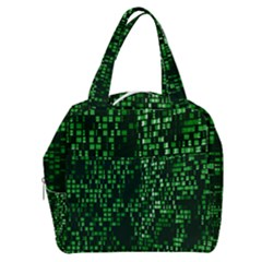 Abstract Plaid Green Boxy Hand Bag