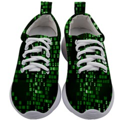 Abstract Plaid Green Kids Athletic Shoes
