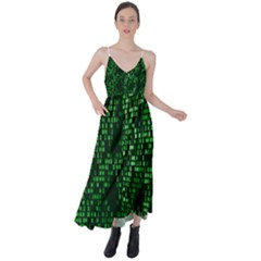 Abstract Plaid Green Tie Back Maxi Dress
