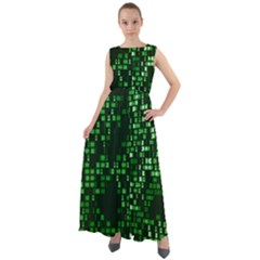 Abstract Plaid Green Chiffon Mesh Boho Maxi Dress