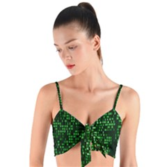 Abstract Plaid Green Woven Tie Front Bralet
