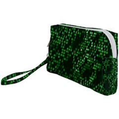 Abstract Plaid Green Wristlet Pouch Bag (small)