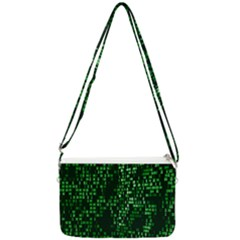 Abstract Plaid Green Double Gusset Crossbody Bag