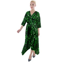 Abstract Plaid Green Quarter Sleeve Wrap Front Maxi Dress