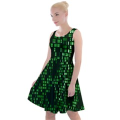 Abstract Plaid Green Knee Length Skater Dress