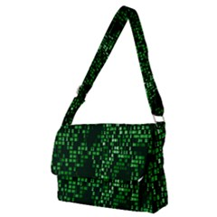 Abstract Plaid Green Full Print Messenger Bag (m)