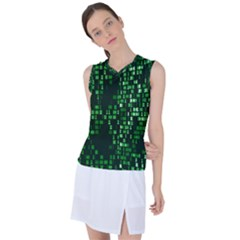 Abstract Plaid Green Women s Sleeveless Mesh Sports Top