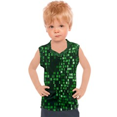 Abstract Plaid Green Kids  Mesh Tank Top