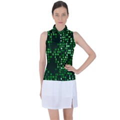 Abstract Plaid Green Women?¯s Sleeveless Polo