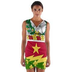 Coat Of Arms Of United States Army 136th Regiment Wrap Front Bodycon Dress