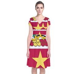 Coat Of Arms Of United States Army 136th Regiment Short Sleeve Front Wrap Dress