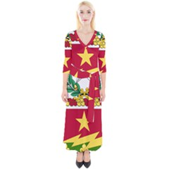 Coat Of Arms Of United States Army 136th Regiment Quarter Sleeve Wrap Maxi Dress
