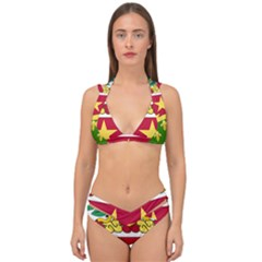 Coat Of Arms Of United States Army 136th Regiment Double Strap Halter Bikini Set