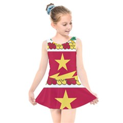 Coat Of Arms Of United States Army 136th Regiment Kids  Skater Dress Swimsuit