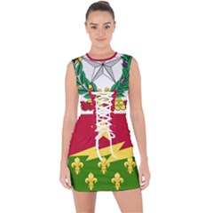 Coat Of Arms Of United States Army 136th Regiment Lace Up Front Bodycon Dress