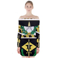 Coat Of Arms Of United States Army 49th Finance Battalion Long Sleeve Off Shoulder Dress