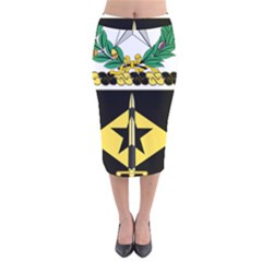 Coat Of Arms Of United States Army 49th Finance Battalion Velvet Midi Pencil Skirt
