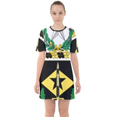 Coat Of Arms Of United States Army 49th Finance Battalion Sixties Short Sleeve Mini Dress