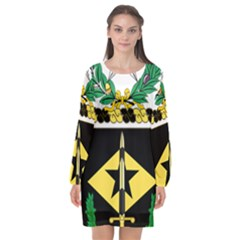 Coat Of Arms Of United States Army 49th Finance Battalion Long Sleeve Chiffon Shift Dress