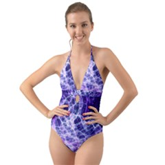 Abstract Space Halter Cut-out One Piece Swimsuit
