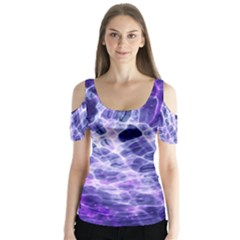 Abstract Space Butterfly Sleeve Cutout Tee