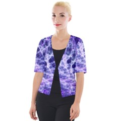 Abstract Space Cropped Button Cardigan