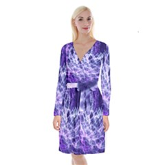 Abstract Space Long Sleeve Velvet Front Wrap Dress