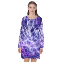 Abstract Space Long Sleeve Chiffon Shift Dress