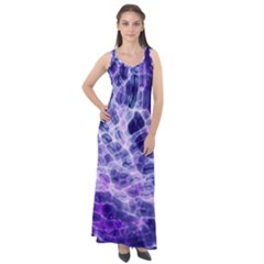 Abstract Space Sleeveless Velour Maxi Dress
