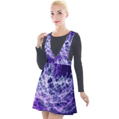 Abstract Space Plunge Pinafore Velour Dress