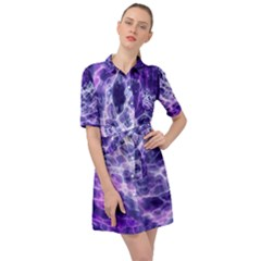 Abstract Space Belted Shirt Dress