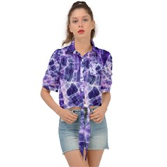 Abstract Space Tie Front Shirt