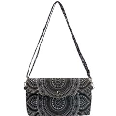 Smalwhite Floral Mandala Removable Strap Clutch Bag