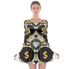 Big Money Head Long Sleeve Skater Dress