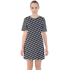 Formes Carreaux Blanc/noir Sixties Short Sleeve Mini Dress