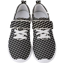 Formes Carreaux Blanc/noir Men s Velcro Strap Shoes by kcreatif